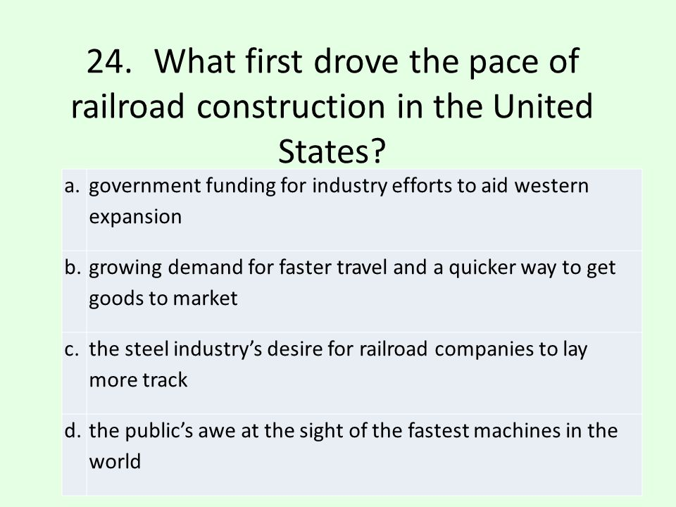 24. What first drove the pace of railroad construction in the United States