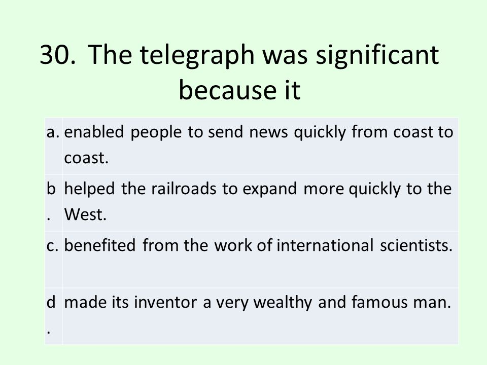 30. The telegraph was significant because it