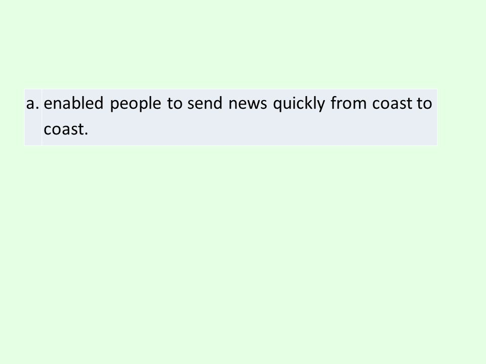 a. enabled people to send news quickly from coast to coast.
