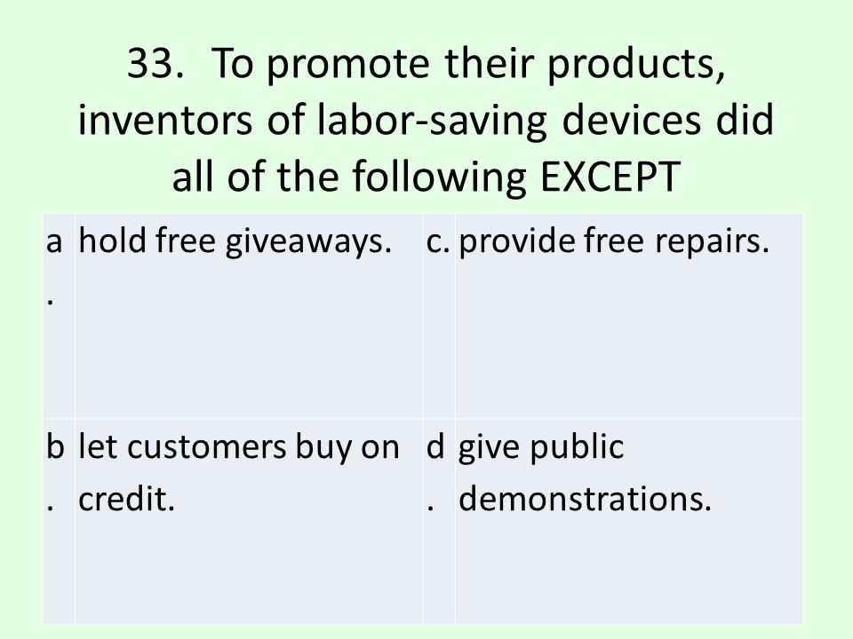 33. To promote their products, inventors of labor-saving devices did all of the following EXCEPT
