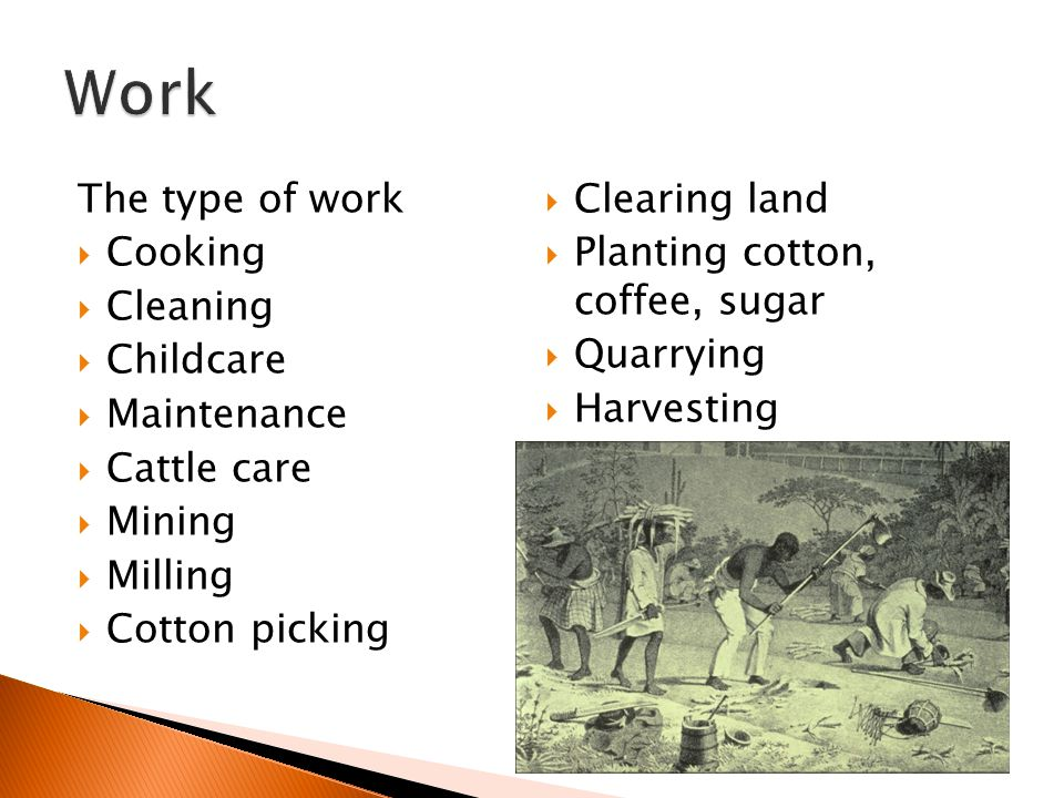 Work The type of work Clearing land Cooking