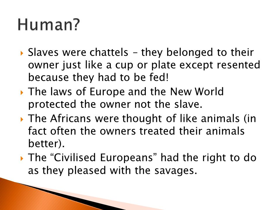 Human Slaves were chattels – they belonged to their owner just like a cup or plate except resented because they had to be fed!