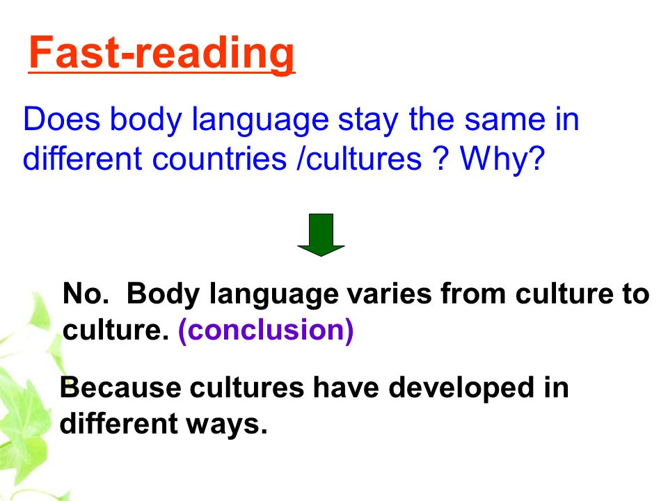 Fast-reading Does body language stay the same in different countries /cultures Why