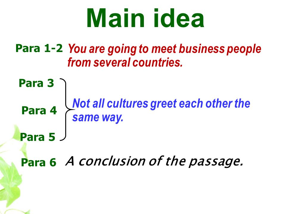Main idea Para 1-2. You are going to meet business people from several countries. Para 3. Not all cultures greet each other the same way.
