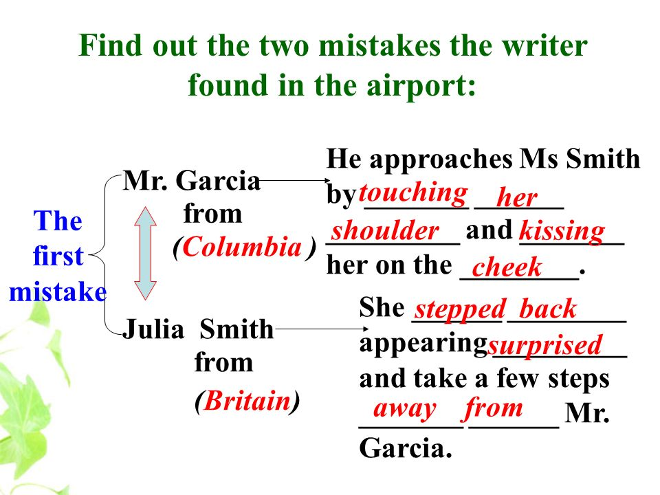 Find out the two mistakes the writer found in the airport: