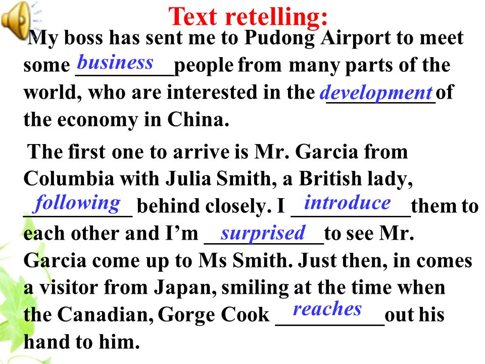 Text retelling: