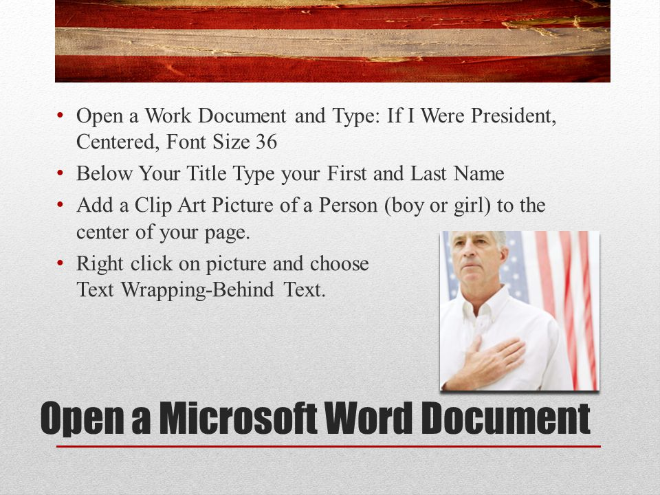 Open a Microsoft Word Document