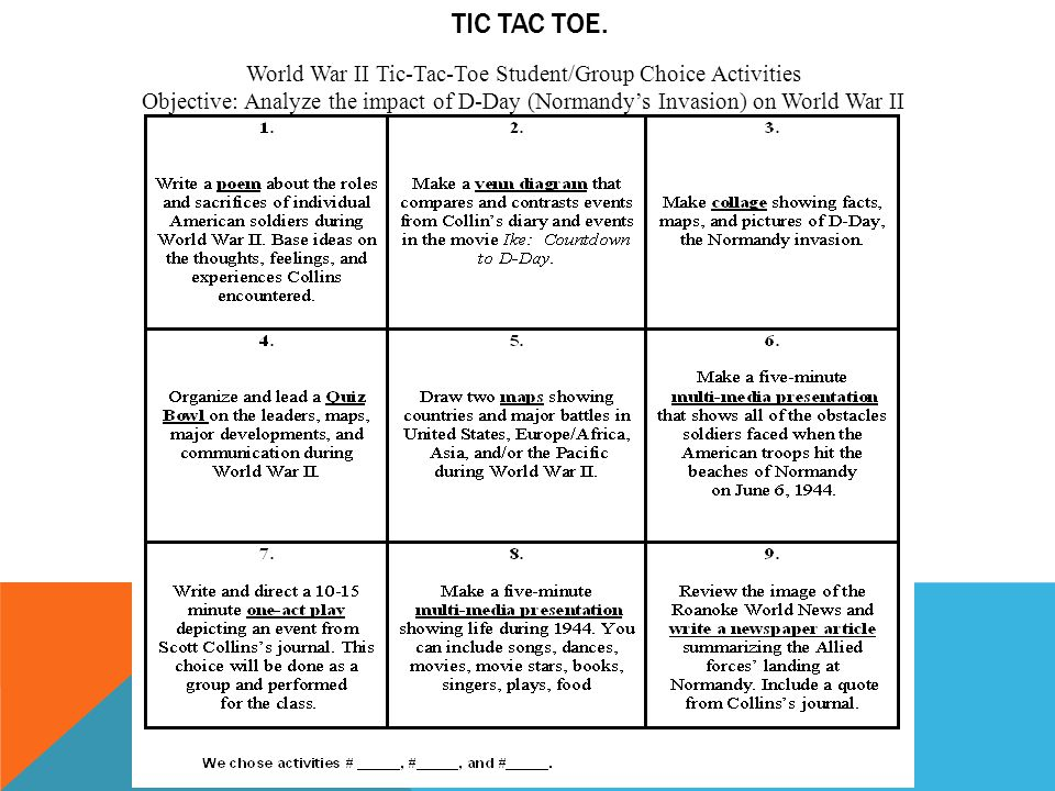 World War II Tic-Tac-Toe Student/Group Choice Activities