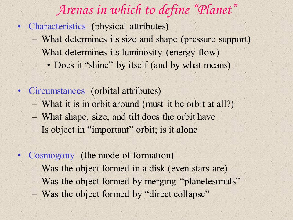 Arenas in which to define Planet