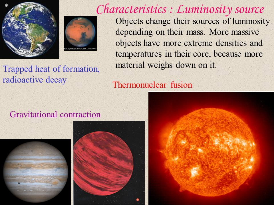 Characteristics : Luminosity source