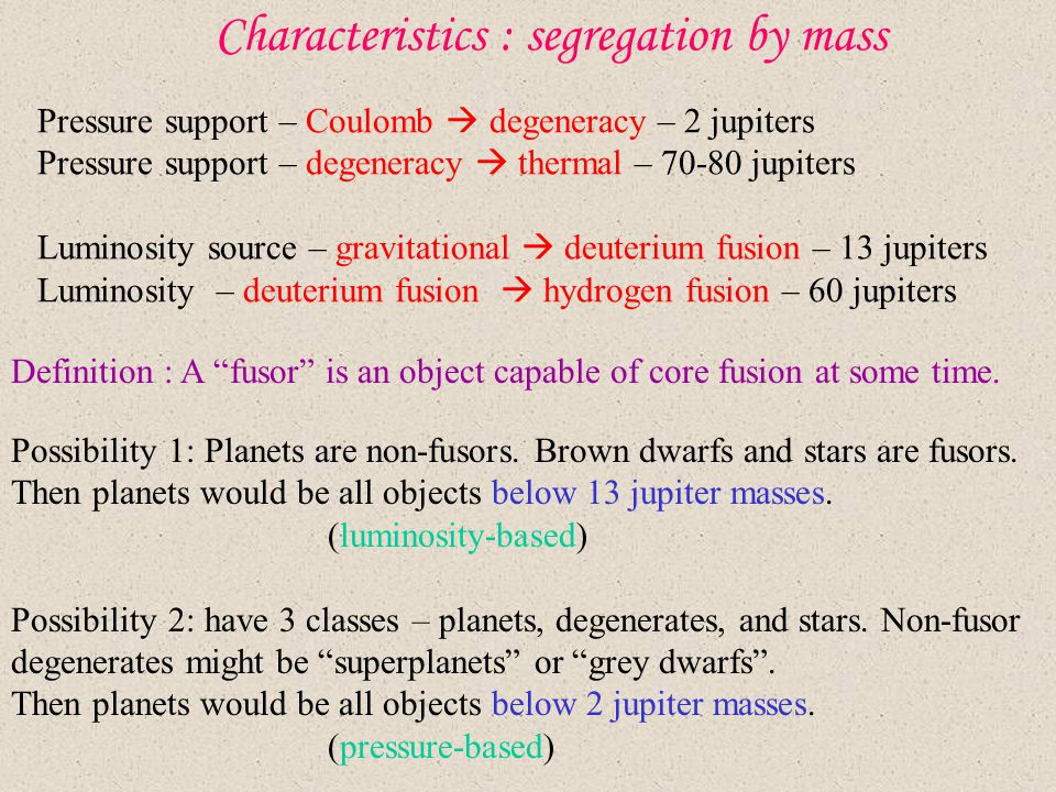 Characteristics : segregation by mass