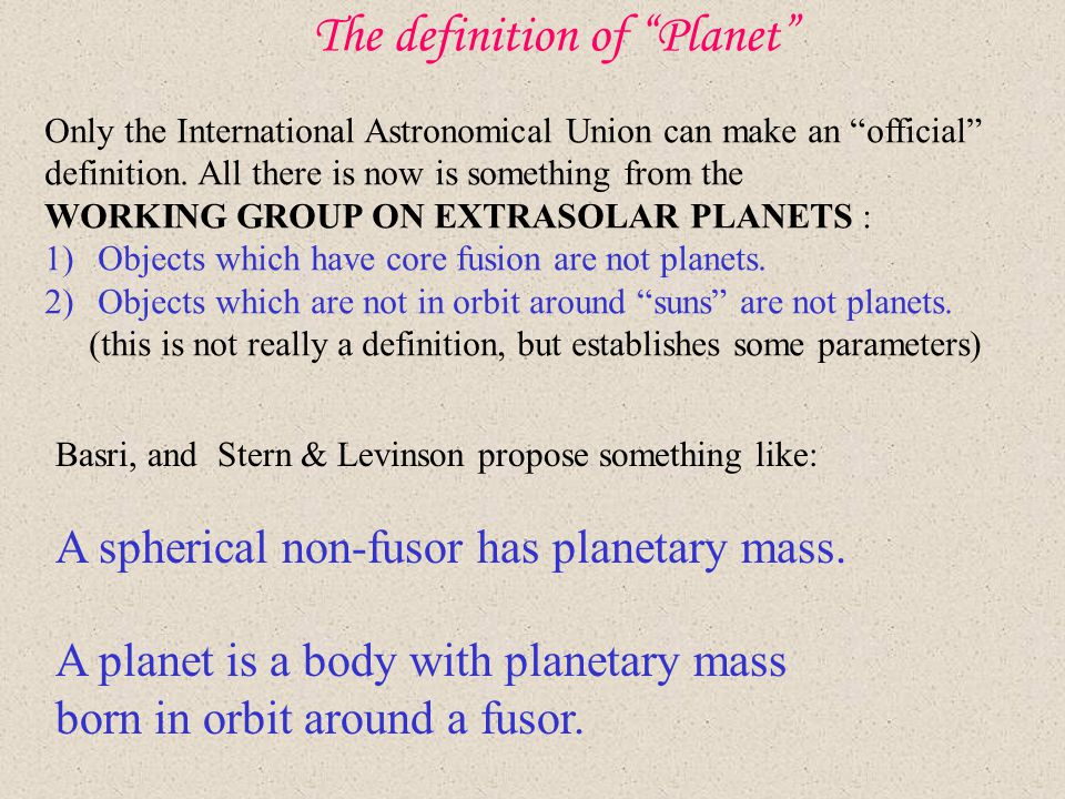 The definition of Planet