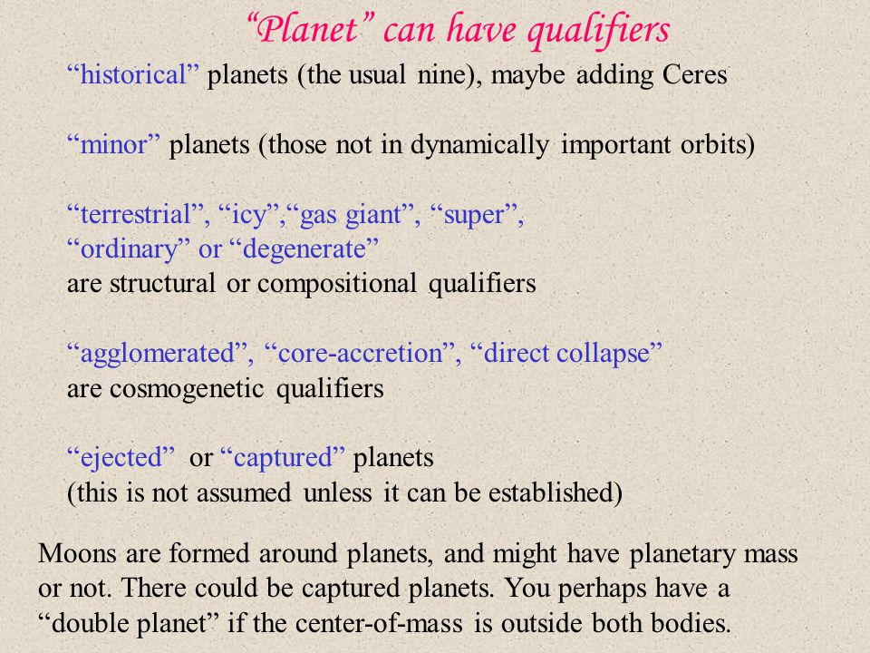 Planet can have qualifiers