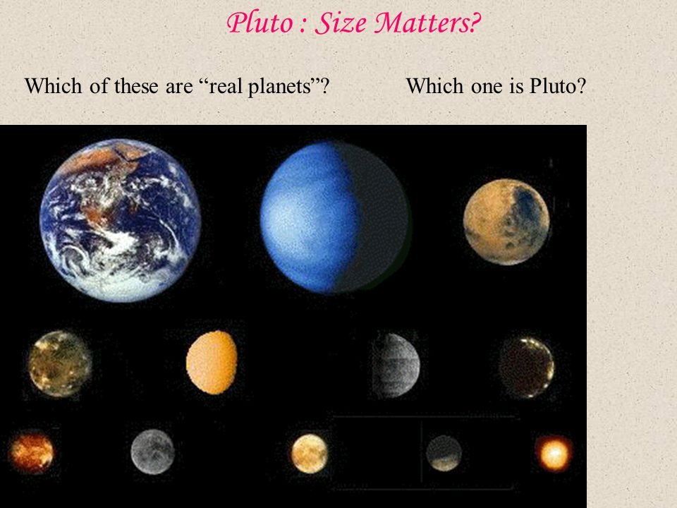 Pluto : Size Matters Which of these are real planets Which one is Pluto