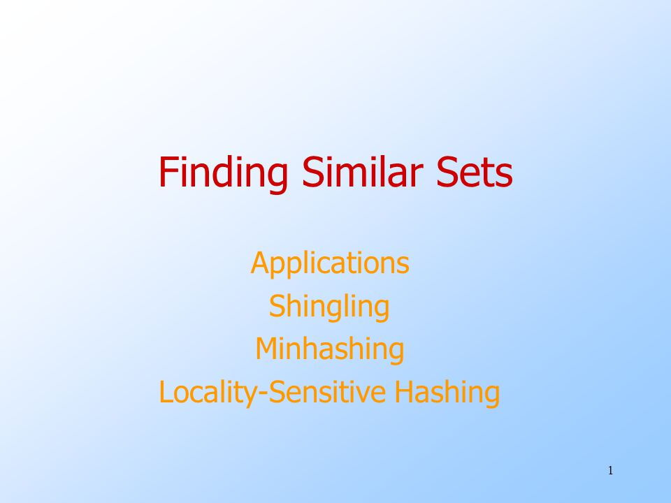 Applications Shingling Minhashing Locality-Sensitive Hashing