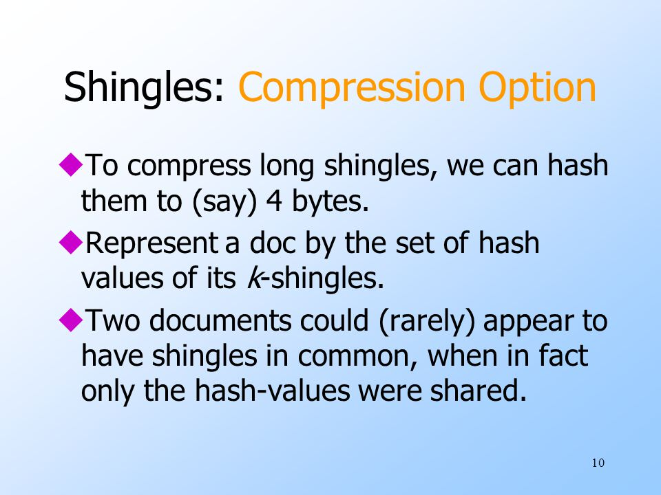 Shingles: Compression Option