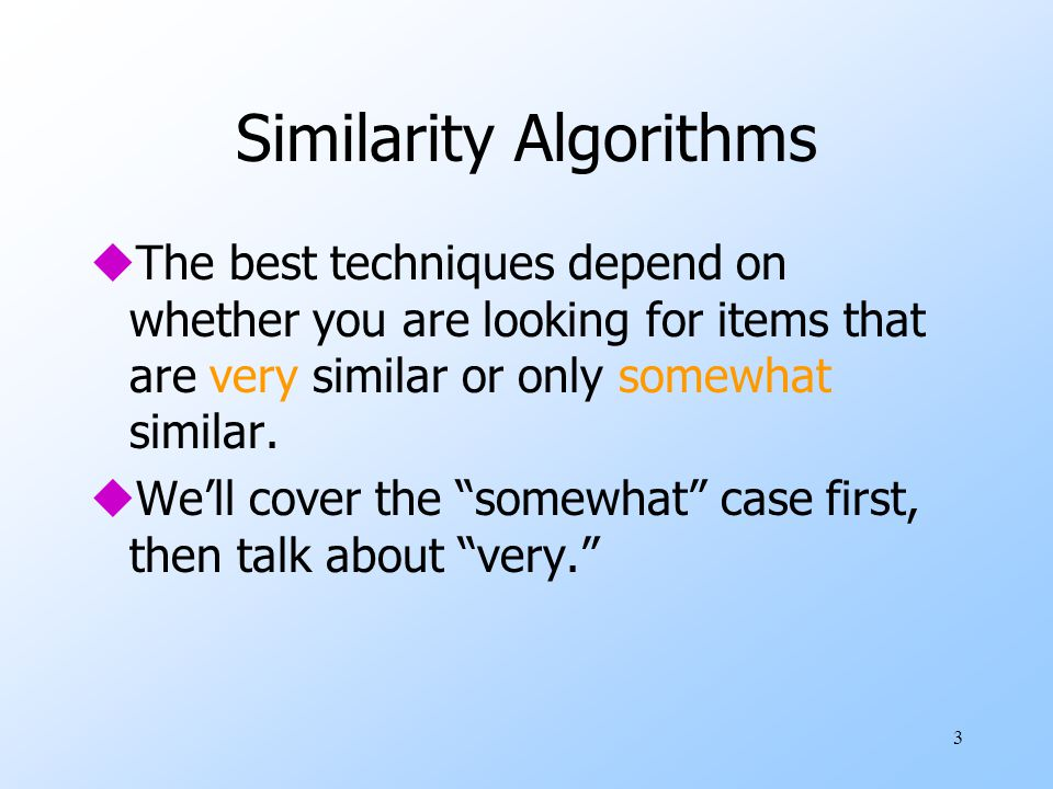 Similarity Algorithms