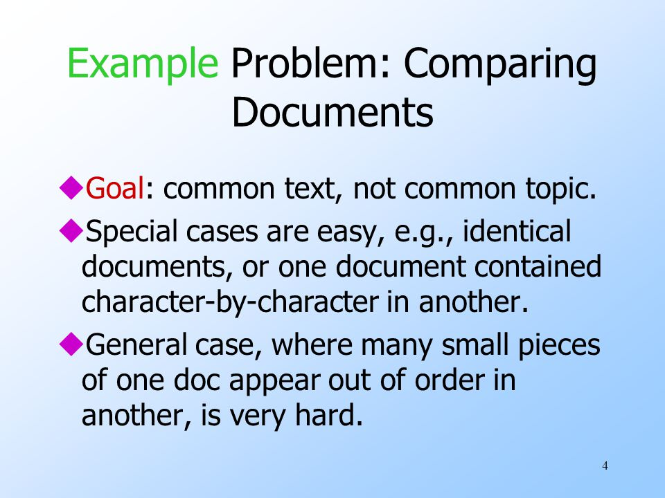 Example Problem: Comparing Documents