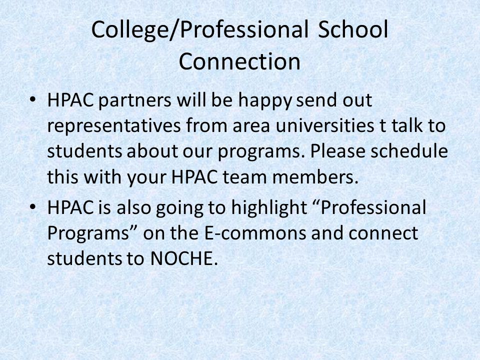 College/Professional School Connection