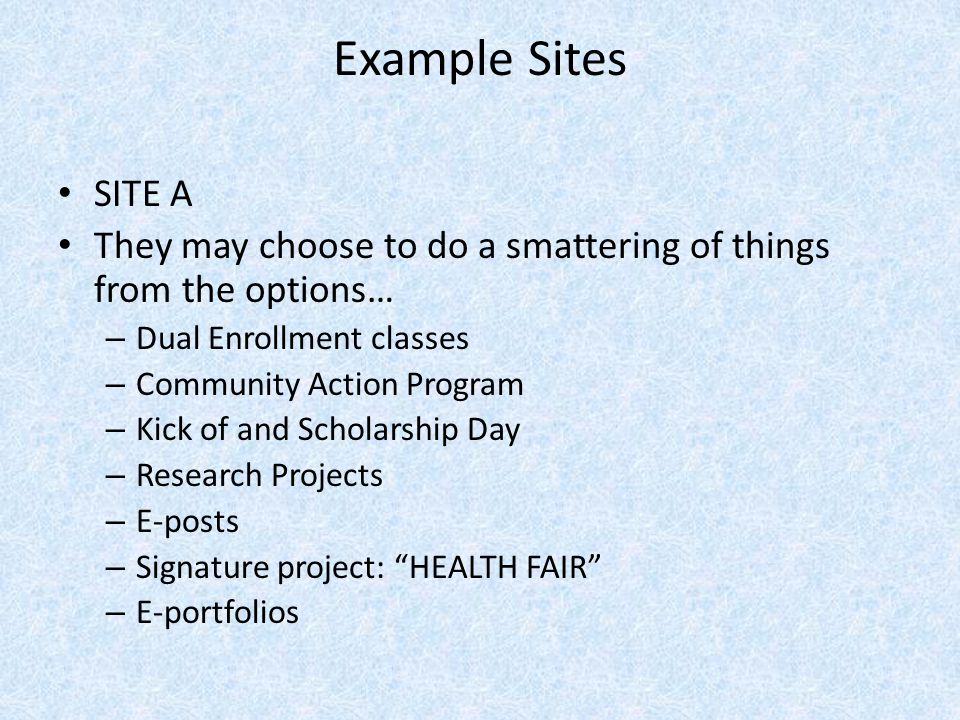 Example Sites SITE A. They may choose to do a smattering of things from the options… Dual Enrollment classes.