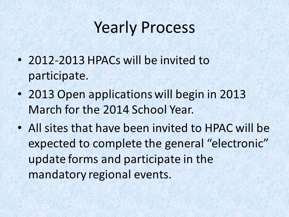Yearly Process 2012-2013 HPACs will be invited to participate.