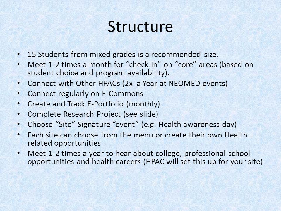 Structure 15 Students from mixed grades is a recommended size.