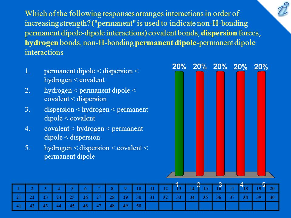 Which of the following responses arranges interactions in order of increasing strength ( permanent is used to indicate non-H-bonding permanent dipole-dipole interactions) covalent bonds, dispersion forces, hydrogen bonds, non-H-bonding permanent dipole-permanent dipole interactions