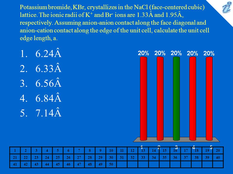Potassium bromide, KBr, crystallizes in the NaCl (face-centered cubic) lattice. The ionic radii of K+ and Br- ions are 1.33Â and 1.95Â, respectively. Assuming anion-anion contact along the face diagonal and anion-cation contact along the edge of the unit cell, calculate the unit cell edge length, a.
