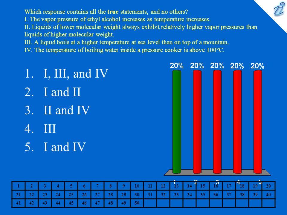 I, III, and IV I and II II and IV III I and IV