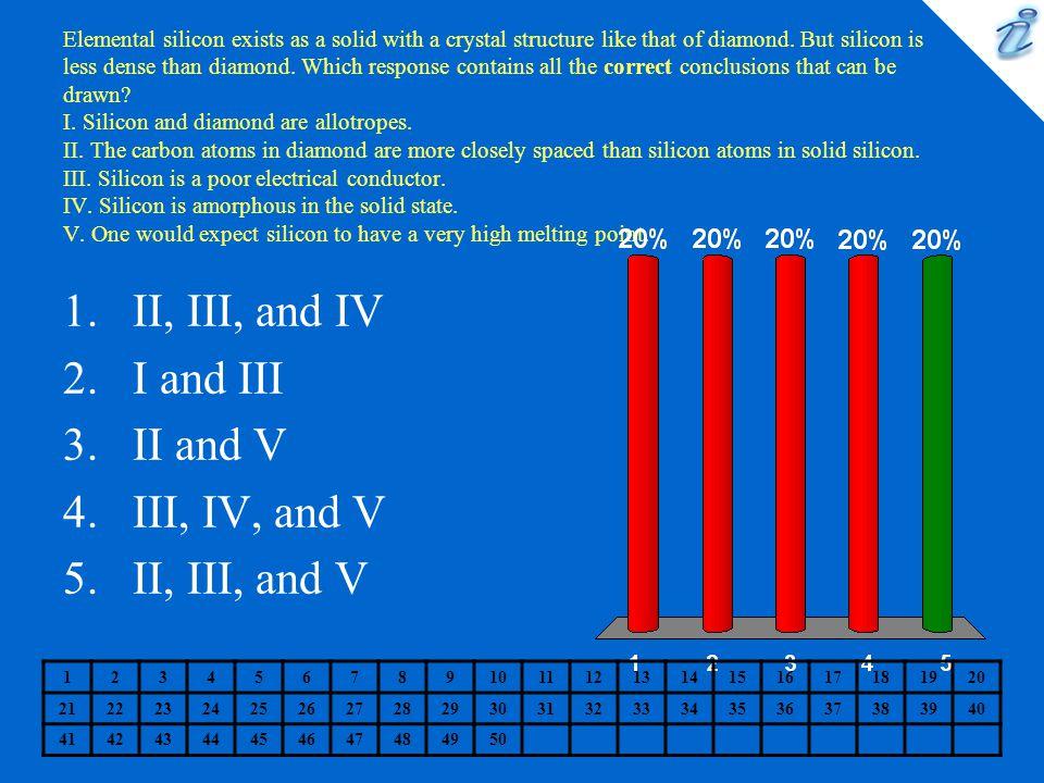 II, III, and IV I and III II and V III, IV, and V II, III, and V