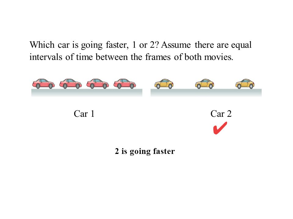 Which car is going faster, 1 or 2