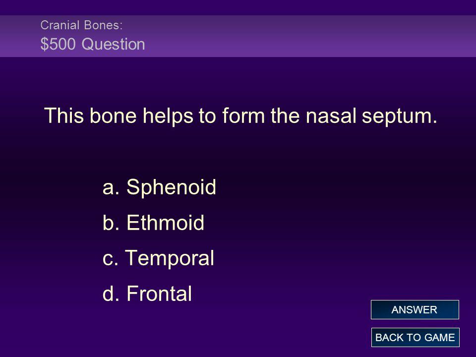 Cranial Bones: $500 Question