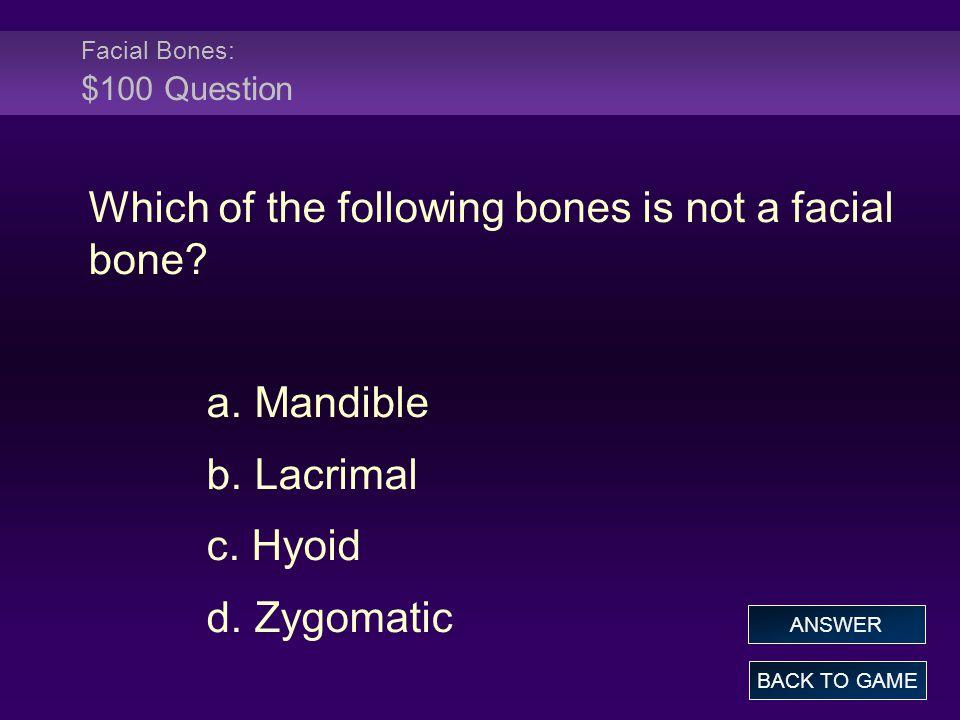 Facial Bones: $100 Question
