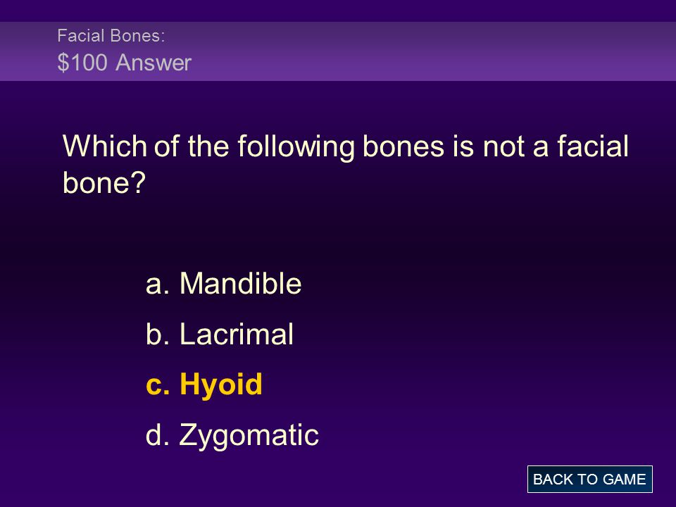 Which of the following bones is not a facial bone