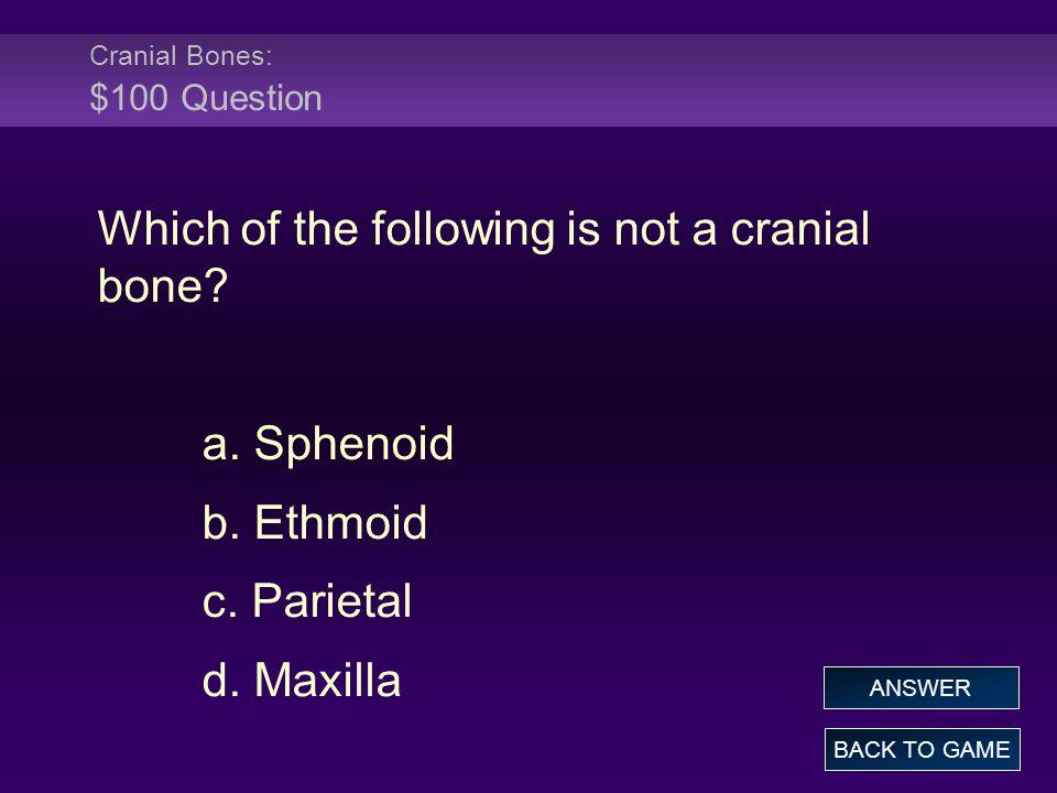Cranial Bones: $100 Question
