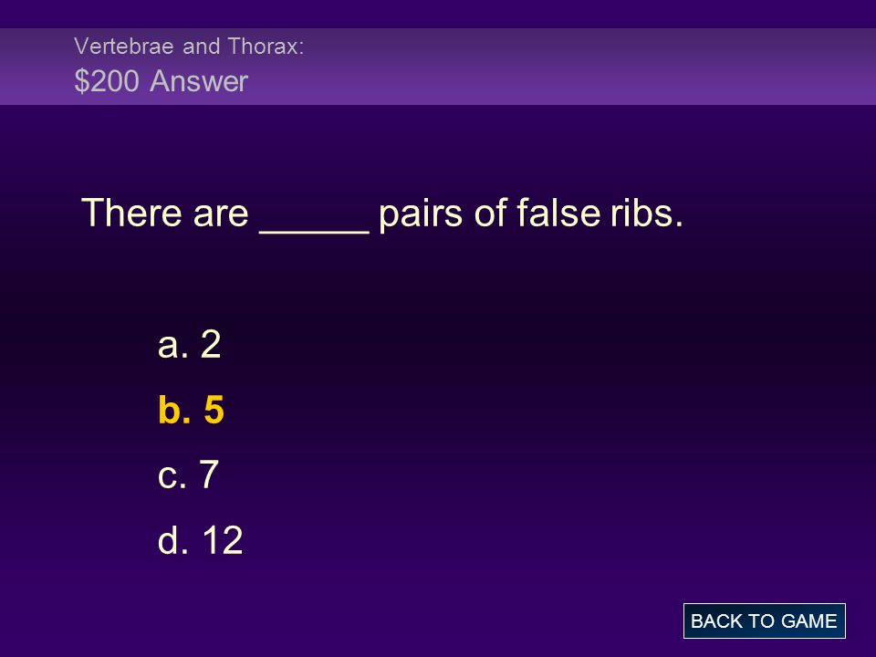 Vertebrae and Thorax: $200 Answer