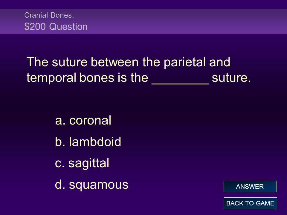 Cranial Bones: $200 Question