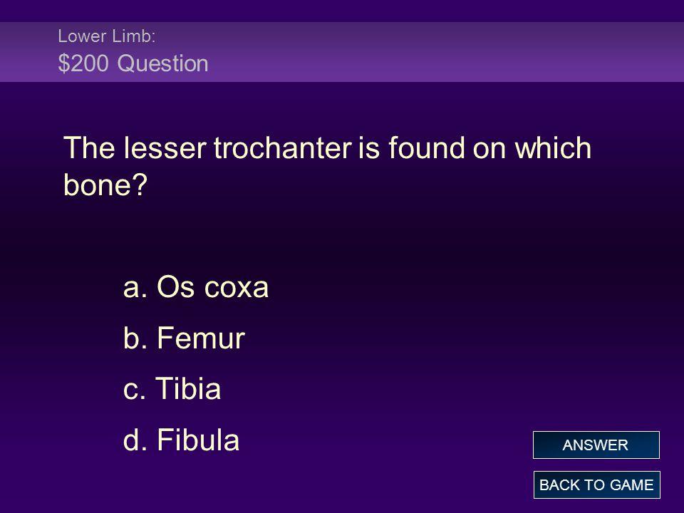 The lesser trochanter is found on which bone