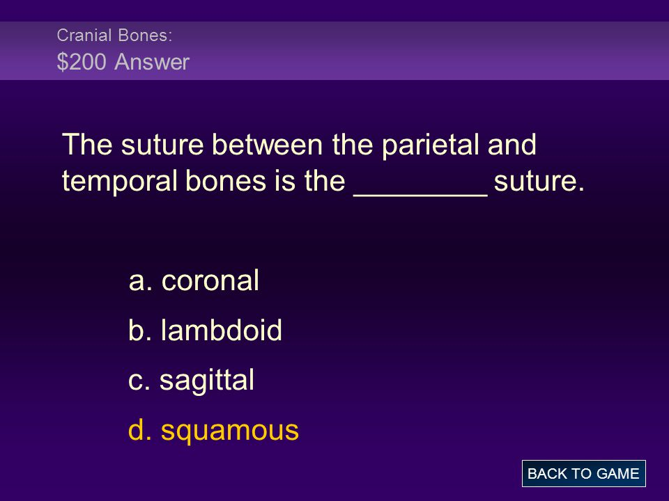 Cranial Bones: $200 Answer