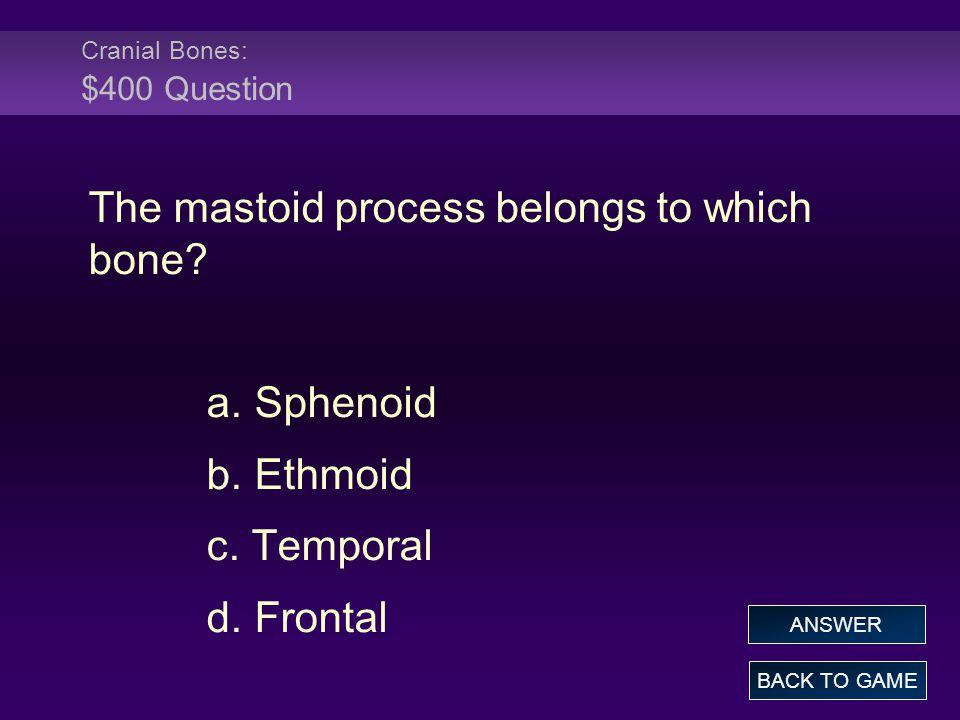 Cranial Bones: $400 Question