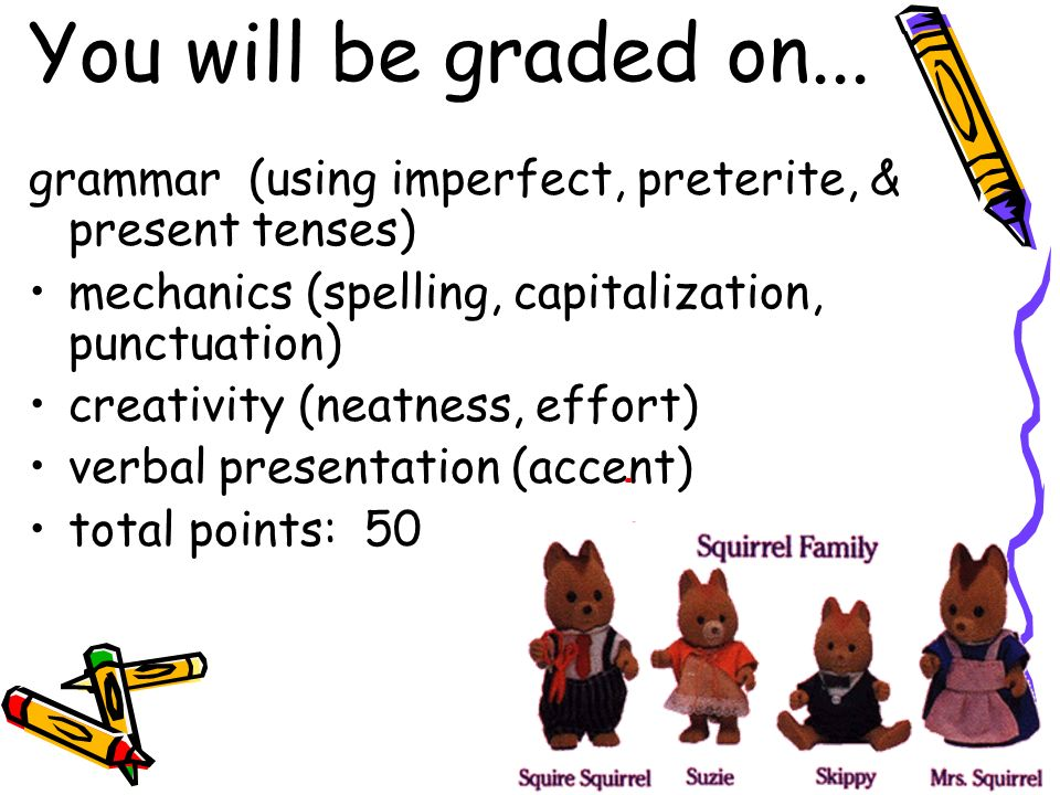 You will be graded on... grammar (using imperfect, preterite, & present tenses) mechanics (spelling, capitalization, punctuation)