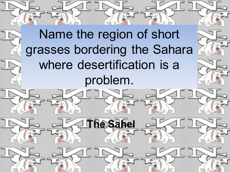 Name the region of short grasses bordering the Sahara where desertification is a problem.