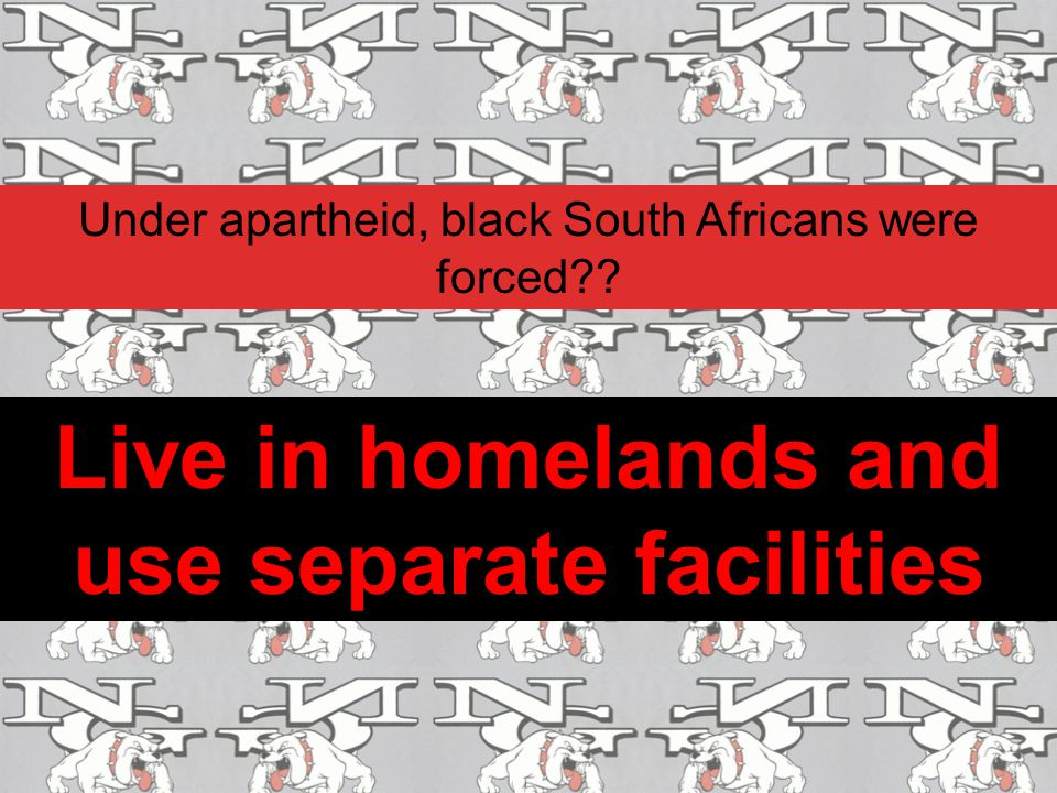 Live in homelands and use separate facilities