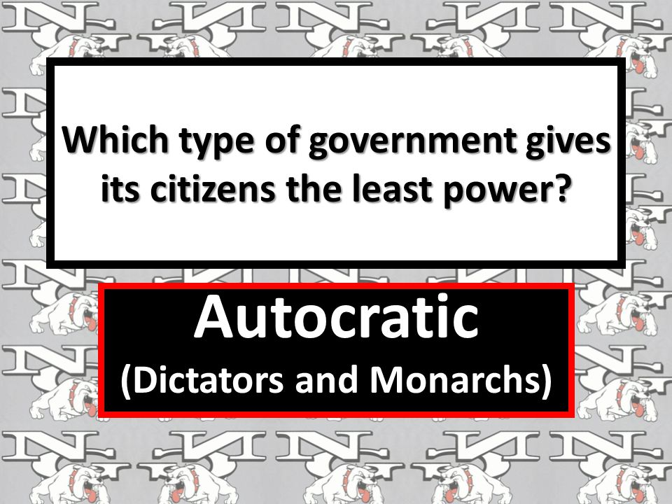 Which type of government gives its citizens the least power