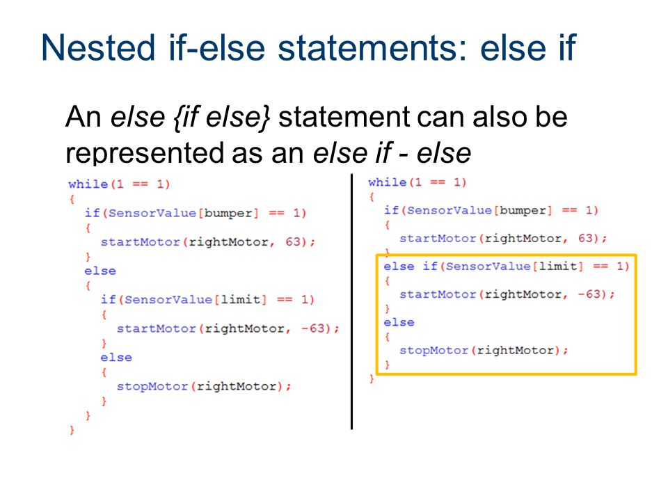 Nested if-else statements: else if