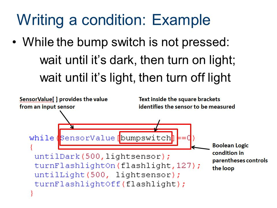 Writing a condition: Example