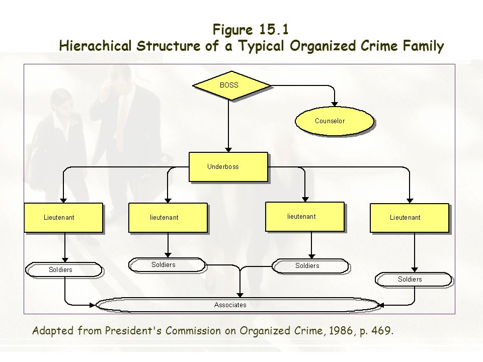Hierachical Structure of a Typical Organized Crime Family