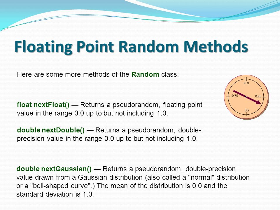 Floating Point Random Methods