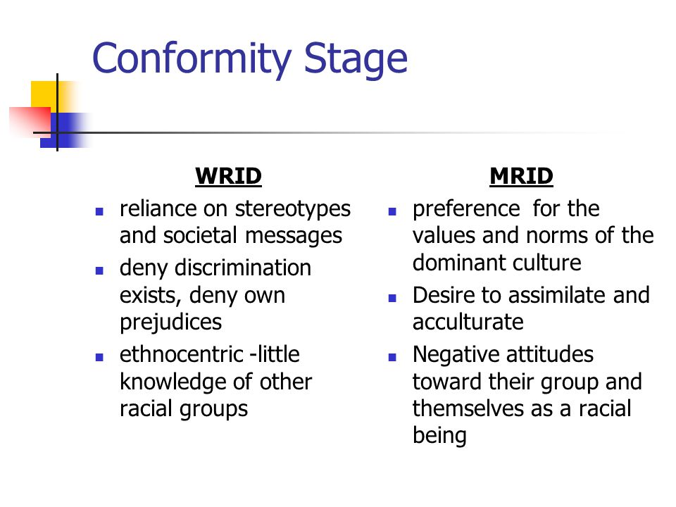 Conformity Stage WRID reliance on stereotypes and societal messages