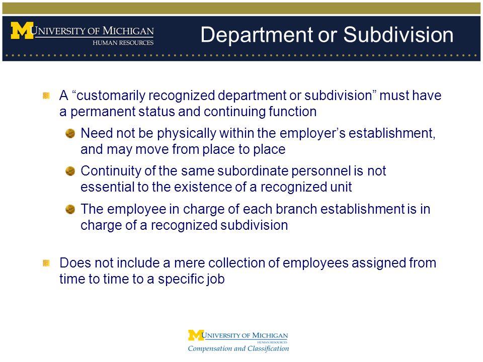 Department or Subdivision